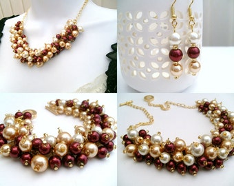 Red Jewelry Set, Red Wine Ivory and Champagne Gold, Pearl Necklace Bracelet and Earrings, Cluster Jewelry, Wedding Sets, Bridesmaids Gift
