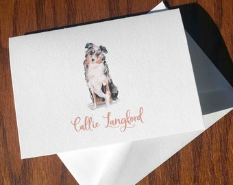 Australian Shepherd Personalized Stationery, great gift for dog lovers, Aussie stationery set Cotton Savoy, custom gifts for dog lovers