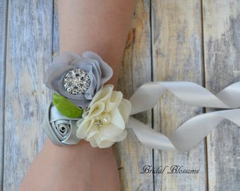Gray Silver Ivory Chiffon Satin Flower Wrist Corsage | Vintage Inspired Wedding | Mother of the Bride | Bridal Shower | Easter | Boutonniere