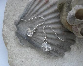 Herkimer Diamond and Sterling Silver Simple Hook Earrings
