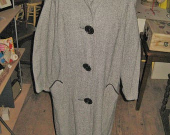 Vintage 1950's woman's Lined lightweight Coat SZ 10-12 Calf length 50's style