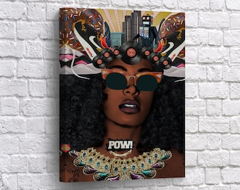African American Wall Art Woman Beauty CANVAS PRINT POW! Pop Art Music Home  Decor Artwork Living Room Decor   Framed Canvas  Ready To Hang