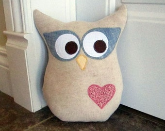 Owl Pillow Plush - Recycled Wool - Big Blue eyes
