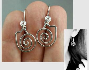 Cat Earrings, Spiral Cat Earrings, Sterling Cat Earrings, Silver Cat Earrings, Sterling Silver Spirals