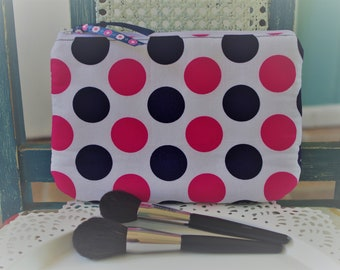 Medium Cosmetic Pouch Navy and Pink Large Dots  Print...Cordelia Collection