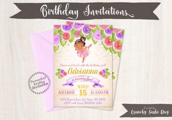 Floral Ballet Customizable Birthday Invitations, Customize, Girl Birthday Invitations, Ballet Birthday, Printable Invitations, Ballet 070