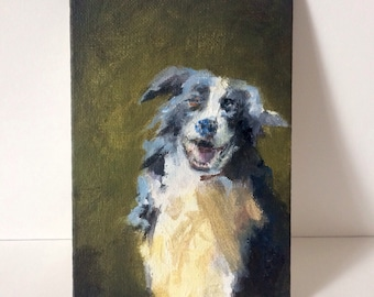 Happy Dog on Green-Original painting