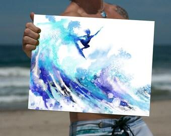 Surf Art Print, Beach Decor, Surfer Artwork, Ocean Wave, Tropical, Surfing, Hawaii, Surfboard, Airtime, Palm Tree, Endless Summer, Hawaiian