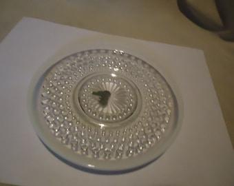Vintage Moonstone Hobnail Opalescent Glass Saucer, collectable