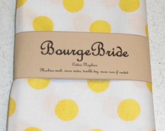 "10"" x 10"" Yellow Polka Dots Cloth Napkins"