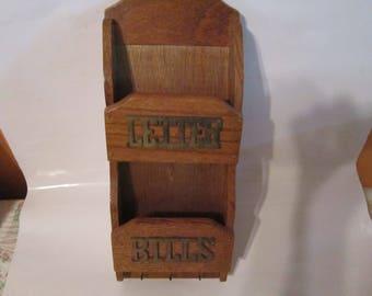 letter bill holder vintage brass and oak wall bill holder