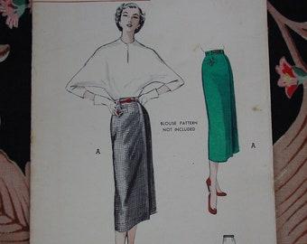 Vintage Pattern 1950's Butterick No.5594 Straight Skirt, Size Waist 30