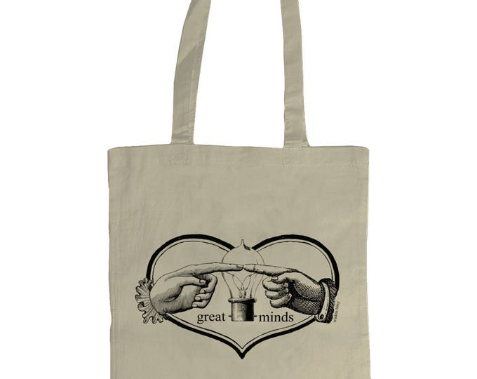 Great Minds Think Alike. Altered Vintage Art Hands and Light Bulb Illustrated Graphic Tote Bag. Natural Cream.