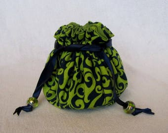 Jewelry Bag - Medium Size - Drawstring Pouch - Traveling Jewelry Bag - Tote - RIBBIT RIBBIT