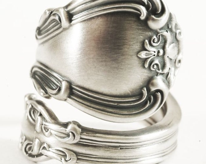 Sterling Silver Spoon Ring, Victorian Ornate and Elegant Gift, Gorham 1895 Chantilly Design, Handmade Jewelry, Adjustable Ring Size (6901)