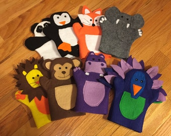 Zoo Animal Felt Hand Puppets for Children (set of 8 puppets)