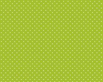 LIme Swiss Dot Cotton Fabric by Riley Blake