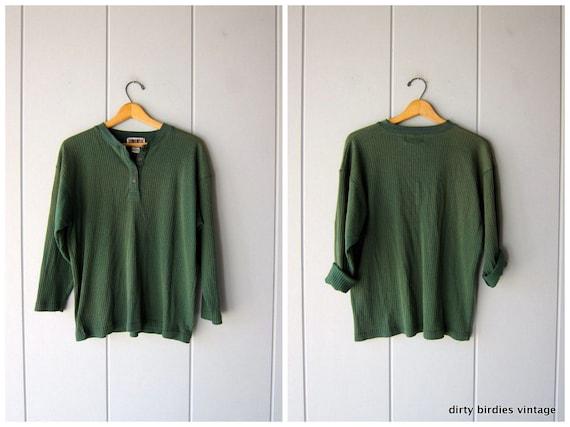 Green 90s Grunge Shirt Long Sleeve Ribbed Long Underwear Shirt Oversized Thermal Cotton Rib FORENZA Shirt Womens Large