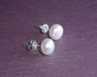 June Birthstone, Sterling Silver and Freshwater Pearl Post Earrings, Creamy White, Brides, Romantic Weddings, Bridesmaids, Flower Girls