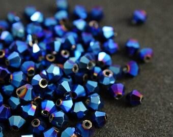 25 BICONES 4 mm Crystal Blue shiny N85