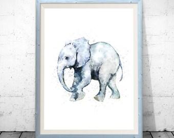 Watercolor elephant, elephant print, elephant wall art, elephant nursery, nursery animal print, elephant painting, elephant nursery art.
