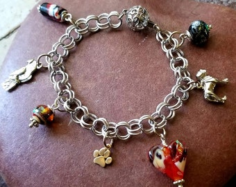 Ashes in Glass Memorial Charm Bracelet in silver or gold, pet memorial, cremation jewelry
