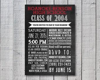 School Reunion Invitation, Chalkboard, High School Reunion, School Colors
