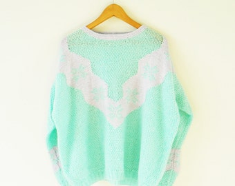 Pastel Kawaii Vintage Sweater / Mint Green and Pink Pastel / Vintage Pastel Sweater / Fun Vintage Statement Sweater PaGx6