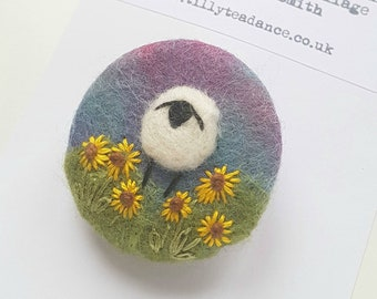 Hand felted and embroidered Sheep brooch with sunflowers  - dusky purple handcrafted felted wool brooch