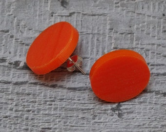 Orange Disc Stud Earrings - Gifts for Her - Valentine's Gifts - choose silver plate or sterling silver stud fittings