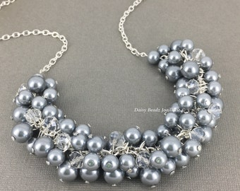 Pearl Jewelry Bridesmaid Gift Idea Cluster Necklace Silver Necklace Bridesmaids Necklace Grey Necklace Mother of Bride Mother of Groom