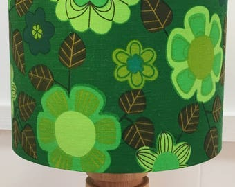 Green lampshade, green lamp shade, vintage fabric, scandi fabric, retro lampshade, green flowers, vintage lampshade, vintage scandi fabric