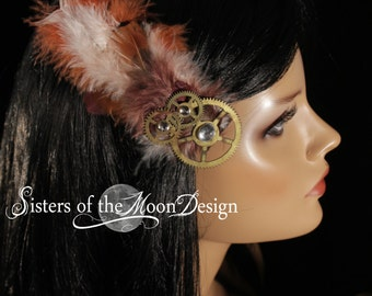 feather hair clip Fascinator Steampunk bridal wedding accessory cream brown gears Bridesmaid hairclip by Sisters of the Moon