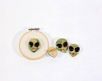 Alien Brooch- Tiny Ceramic Sculpture (-ONE brooch-)