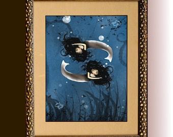 Zodiac Art Goth Girl  Art Print ---  PISCES