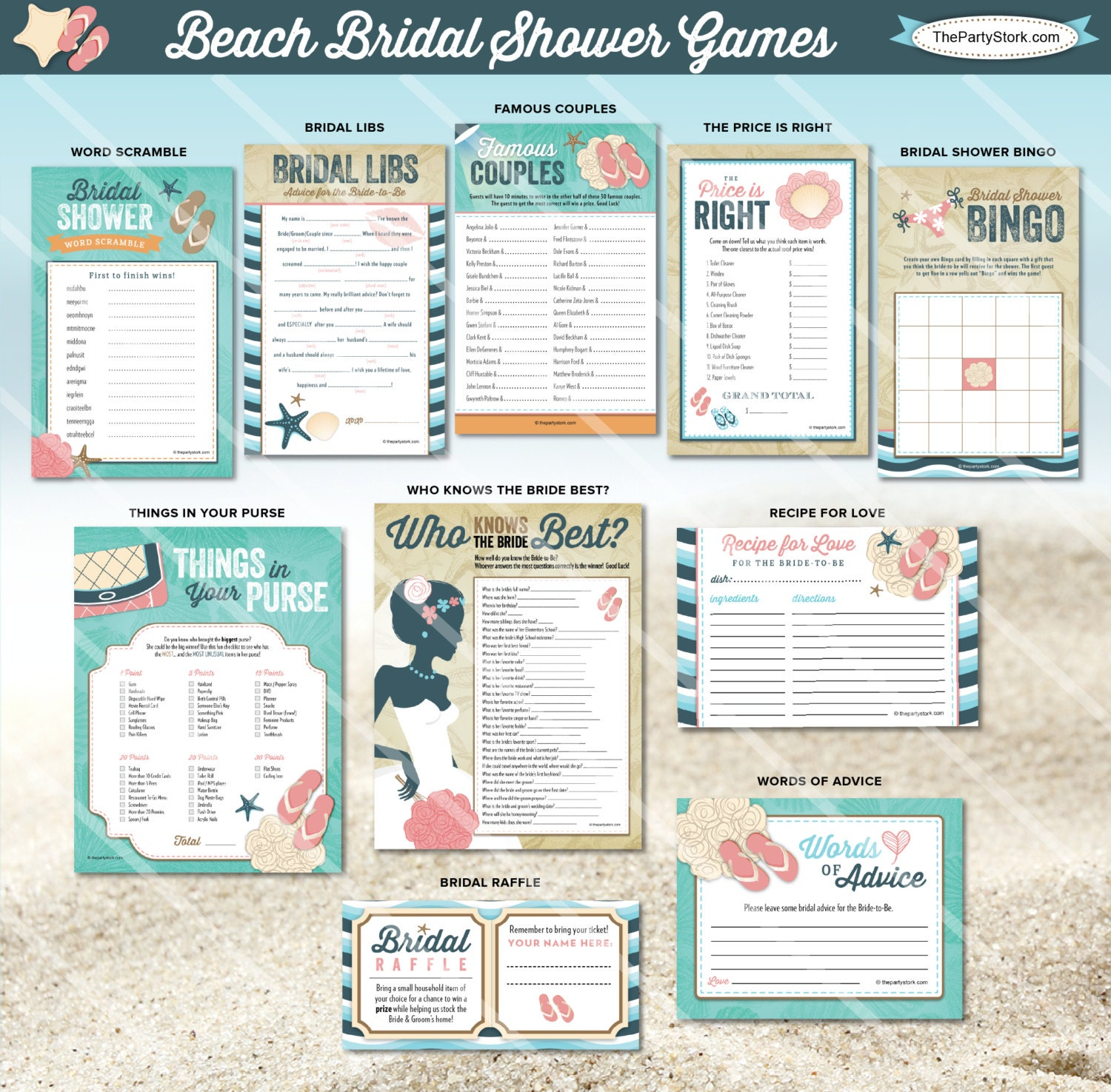 Beach Bridal Shower Games Coordinating Beach Bridal Shower