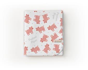 Pig Blanket / Farm Nursery / Farm Theme - Name Blanket / Swaddle Blanket / Organic Baby Blanket / Organic Swaddle