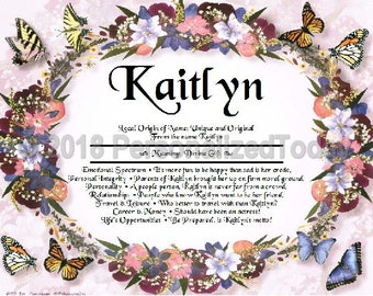 Butterflies Name Meaning Origin Print Name Personalized Gift For Her Gift For Mom Certificate 8.5 x 11 Inches Custom Art Wall Decor Flowers