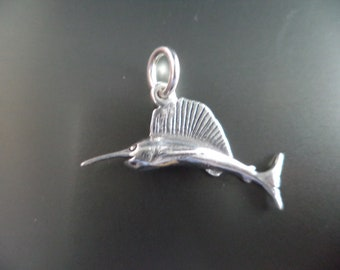 STERLING SILVER 3D Sword Fish Charm for Charm Bracelet