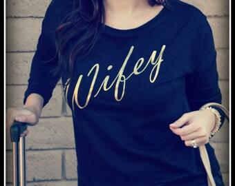 Black Long Sleeve Wifey Shirt, Wifey Shirt, Long Sleeve Gold Wifey Shirt, Bridal Shower Gift, Wedding, Bride Shirt, Bachelorette Gift,