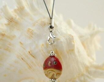 Charm/Zipper Charm - Handmade red/beige Glass bead