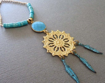 Turquoise Feather Filigree Drop Necklace / Turquoise Drop / Feather Necklace / Gold Filigree / Boho Necklace // GB31