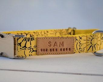 Yellow floral dog collar, yellow dog collar, personalized dog collar, spring dog collar, yellow pattern, flower dog collar, flowers, yellow
