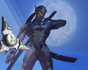Overwatch Inspired Genji Shuriken Fidget Hand Spinner Painted Version