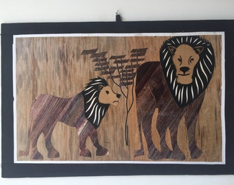 Hand Weaved African Art Lions