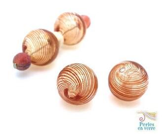 2 beads spiral blown glass orange Topaz, diameter 13mm (pv620)
