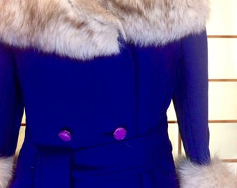 Steve Forstmann Deep Royal Purple Mod Vtg Vintage 60s Massive Fox Fur Collar M/L Coat Princess Russian