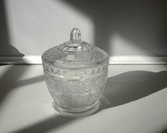 Vintage Pressed Glass Candy Dish with Lid