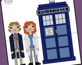 Doctor Who themed Eighth Doctor and Companion cross stitch pattern - PDF pattern - INSTANT DOWNLOAD