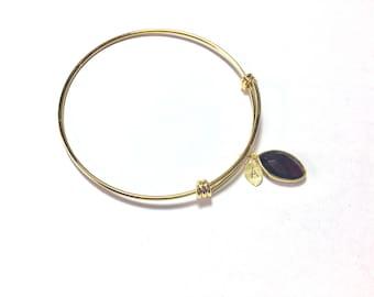 Garnet Bracelet January Birthstone Bangle with initial leaf handstamped natural Garnet gemstone gold bracelet birthday gift for her under 30